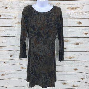 Nally & Millie jersey dress dark floral animal S